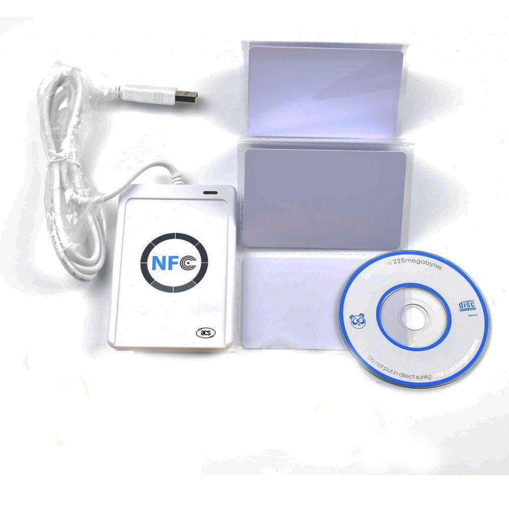 USB L'ACR 122U NFC puce sans contact lecteur de Carte à puce et écrivain soutenir tous les 4 types + 5 pièces 13.56 MHz nfc 1 k s50 Cartes + 1 SDK CD