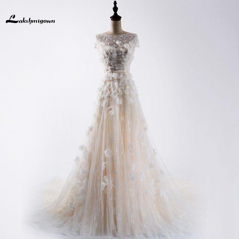 Vestido de Noiva 2017 modest Encaje vestido manga corta sexy back Encaje perla vestidos de boda por encargo de mariage