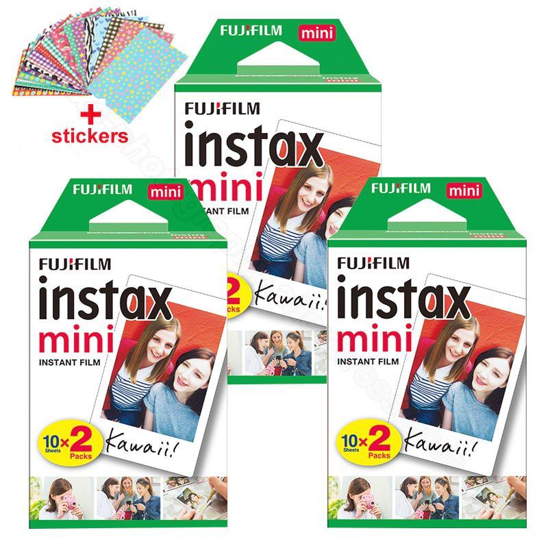Original Fuji Fujifilm Instax Mini 8 Film 60 pcs White Edge Photo Papers For Polaroid 9 7s 8 90 25 55 Share SP-1 Instant Camera