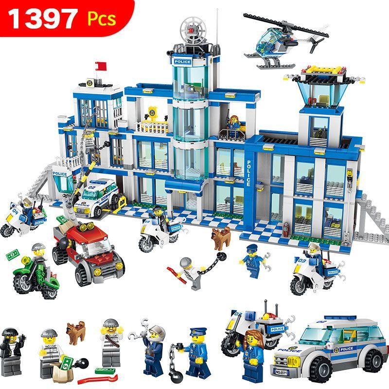 Anti-Terrorisme D'action Modèle Blocs de Construction Ville Police Station Série Ensemble Compatible LegoINGLYS Enfant Jouet 1397 Pcs