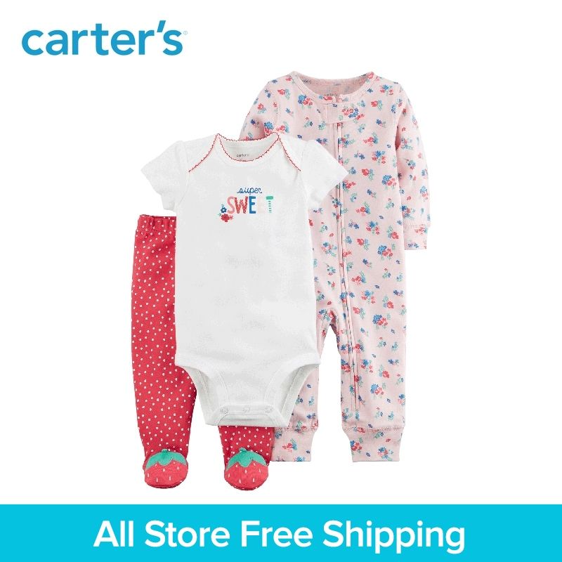 3pcs sweet bodysuits floral jumpsuit strawberry foot pants clothing sets Carter's baby Girl soft cotton Spring Summer 126H331