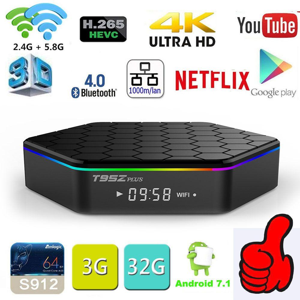 Original T95Z Plus 2GB 16GB 3GB 32GB Amlogic S912 Octa Core Android 7.1 OS Smart TV BOX 2.4G/5GHz WiFi BT4.0 4K pk mini m8s pro