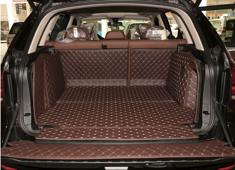 Good carpets! Full set ca trunk mats for BMW X5 F15 2017-2013 5seats durable boot carpets cargo liner for X5 2015,Free shipping