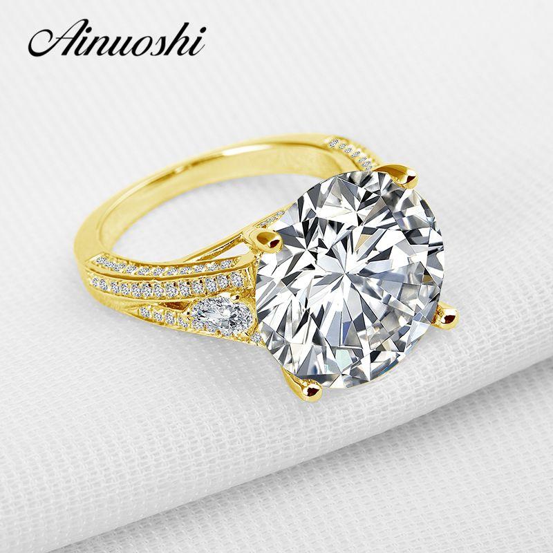 AINUOSHI 10 karat Solide Gelb Gold Hochzeit Ring Luxus Brilliant 13 ct Runde Lab Grown Diamant Schmuck Engagement Ringe für frauen