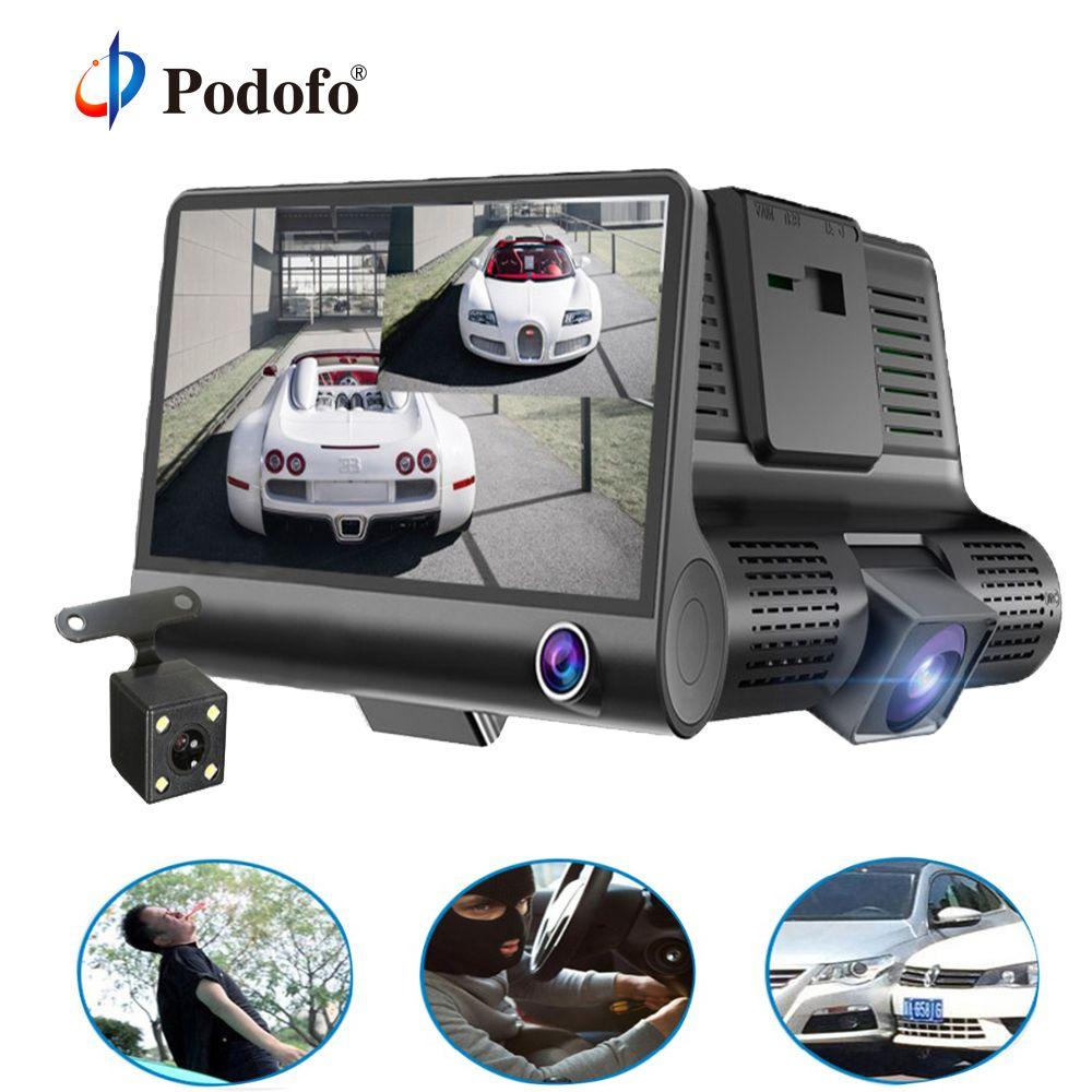 Podofo 4.0'' 3 Way Car DVR Camera Video Recorder Rear View Auto Registrator ith Two Cameras Dash Cam DVRS Dual Lens Holder Stand
