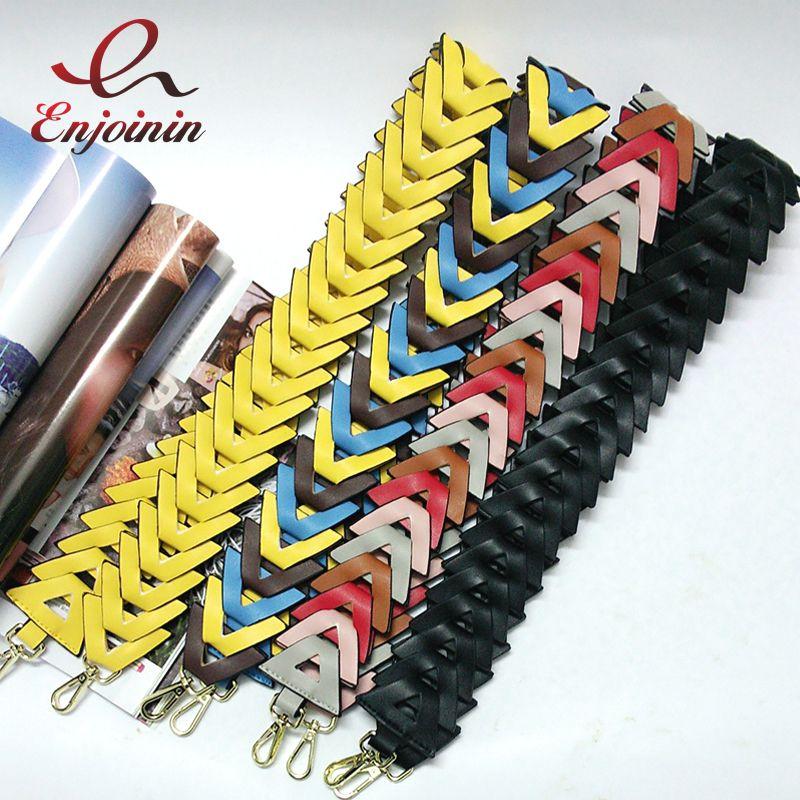Fashion Hit Color Knit Handbags belts Women's Bgs Strap Ladies Bag Accessory Bags Parts Pu Leather Shoulder Bag Belts Gift Belts