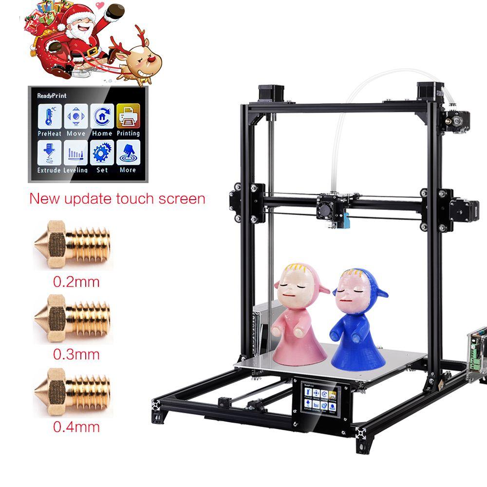 2019 Flsun 3D imprimante I3 Kit complet métal grande taille 300x300x420mm double extrudeuse tactile Auto-nivellement imprimante 3D lit chauffé Filament