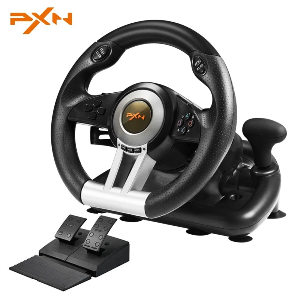 PXN V3II 4 In 1 Steering Wheel For PS4 /3 For Xbox One USB Wired Vibration Motor Racing Games Steering Wheel For PC
