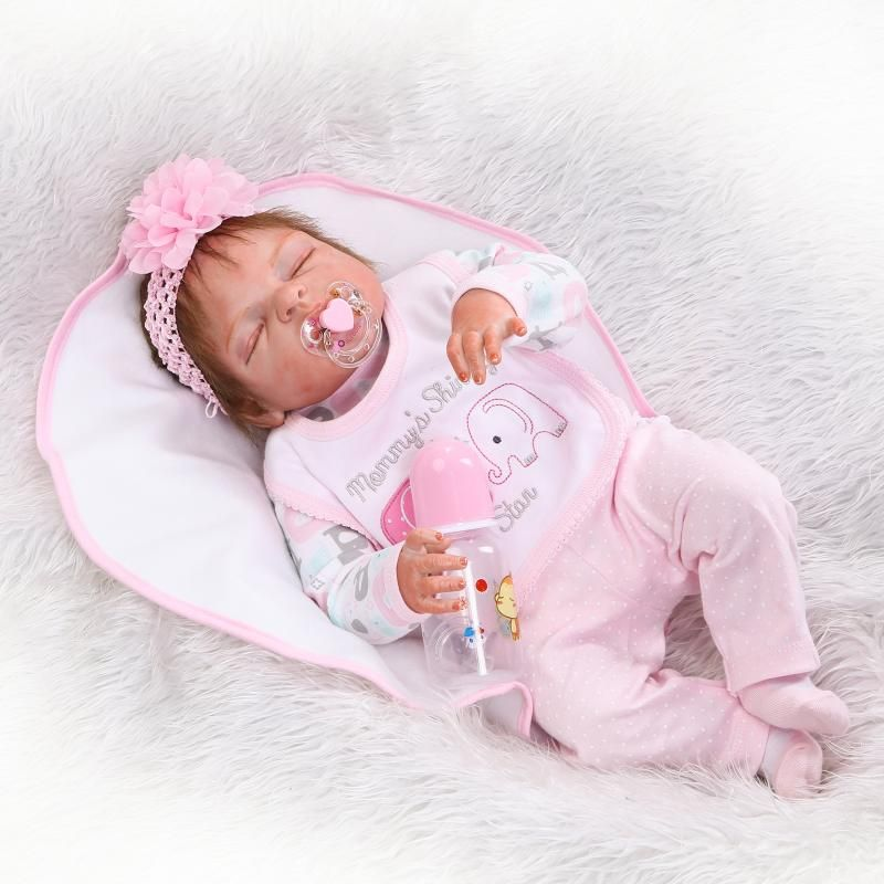 Full Body Silicone Vinyl Weighted Sleeping Reborn Doll Baby Girl New Born Dolls Anatomically Correct 23 Inches 57cm