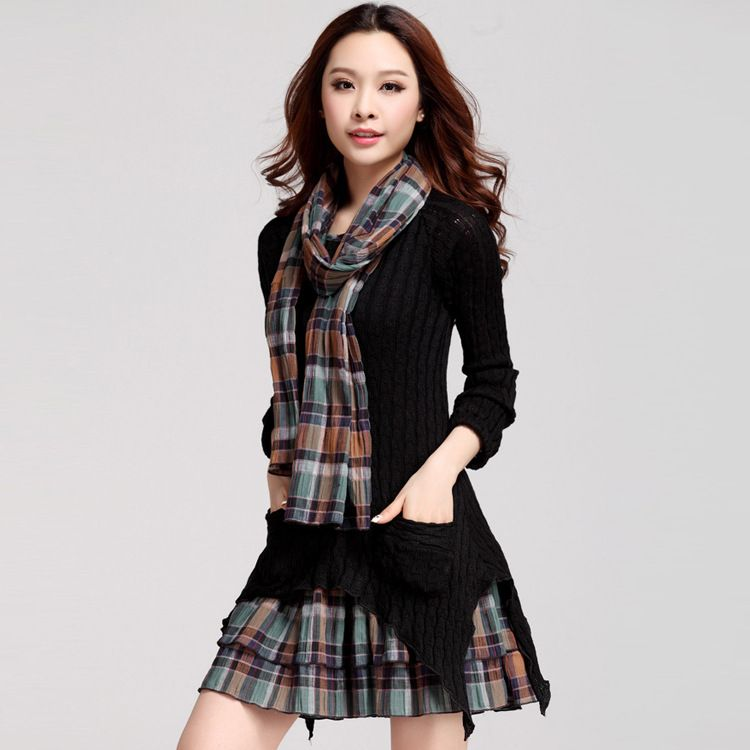 plus velvet checked dresses warm large size women long sleeve vestido asymmetrical knit plaid autumn and winter pleated dress