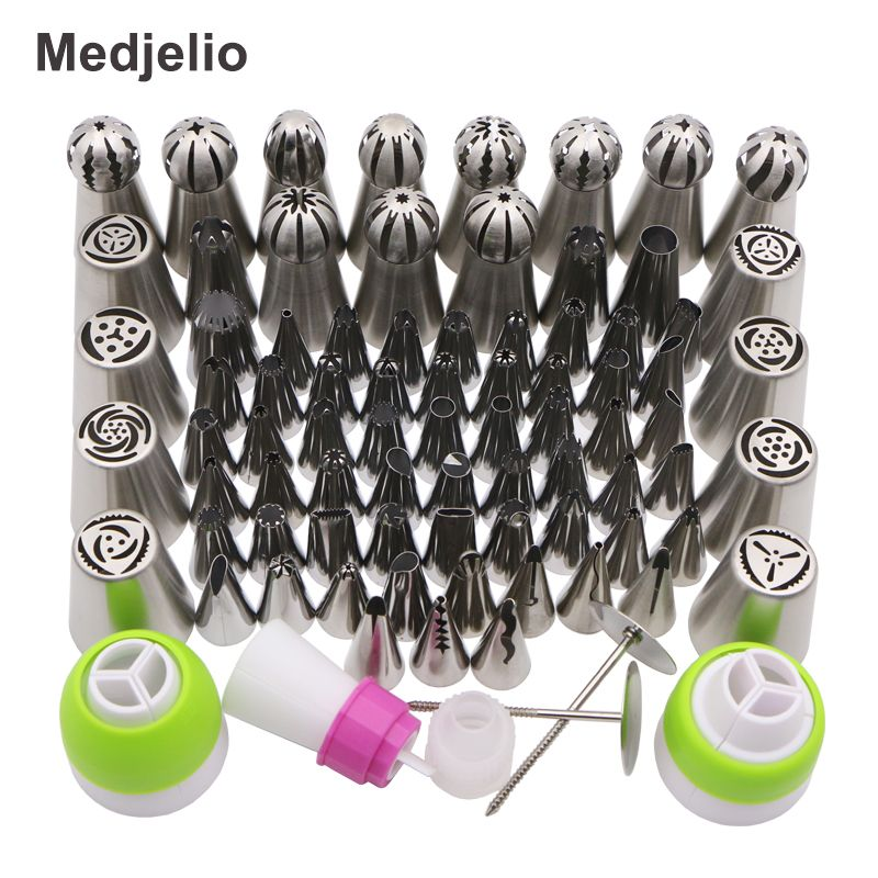 Medjelio 78Pcs Korea Icing Piping Pastry tips Russian Nozzles ball Globular Baking Tools free 2pcs Pastry Nail 4pcs couplers
