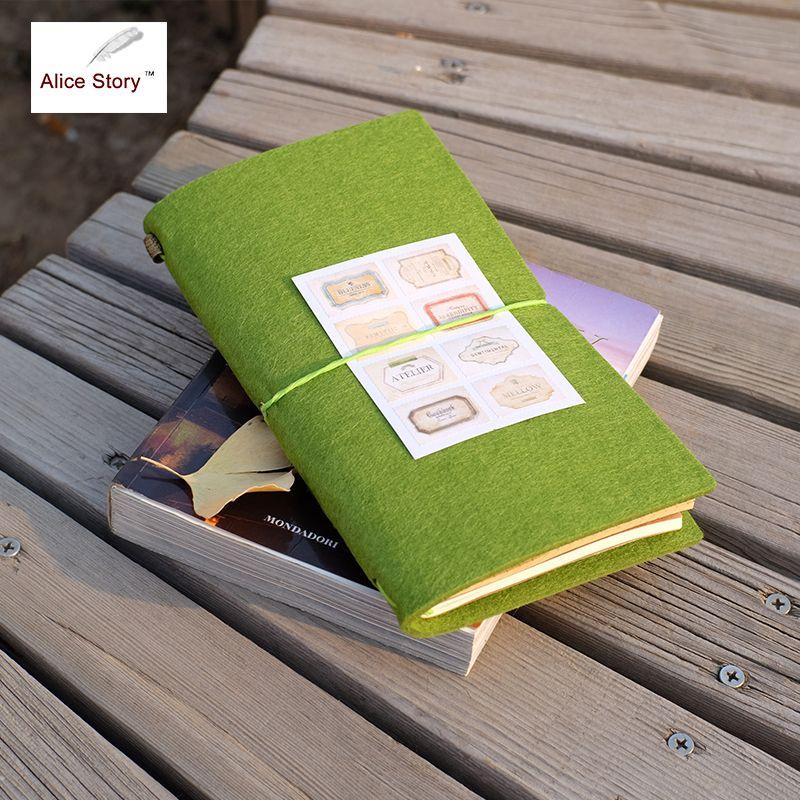Feutre tissu carnet de voyage bricolage Inserts remplaçables journal L/M taille tissu voyage journal portable bureau fournitures scolaires