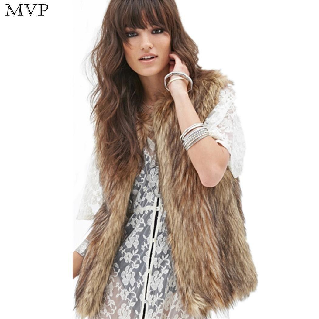 Winter Fur Vest Women Faux Fur Coat 2017 Casual Front Stitch Sleeveless Solid Fur Waistcoat Vest colete feminino Veste Femme