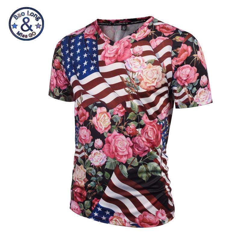 2019 nouveau mode hommes/femmes Rose t-shirt été/printemps hauts impression 3D USA drapeau Rose Roses fleurs imprimé col en V t-shirts chemise # V006