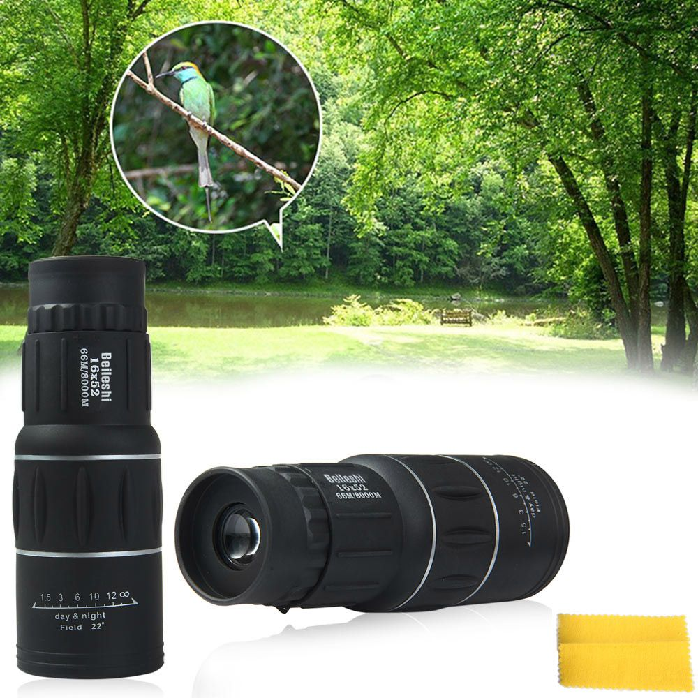 Beileshi 16 x 52 Dual Focus Monocular Spotting Telescope Zoom Optic Lens Binocular Coating Lenses Hunting Optic Scope Phone Clip