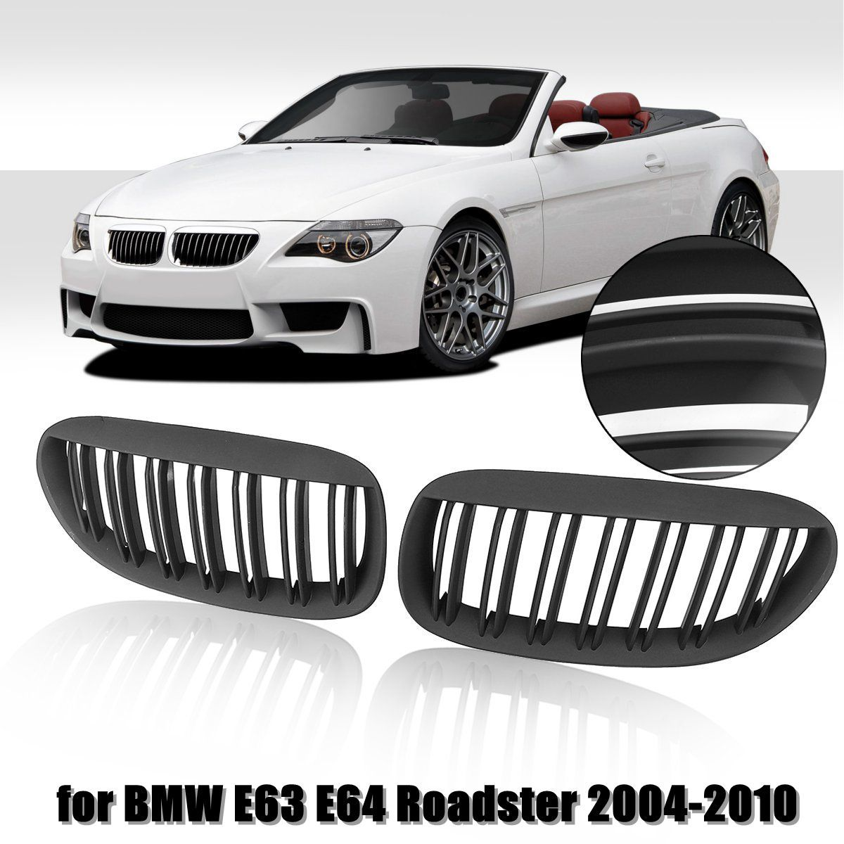 1 Pair Matte Black Double Slat Line Front Bumper Grille Kidney Grille For BMW E63 E64 Roadster 6 Series Convertible 2004-2010