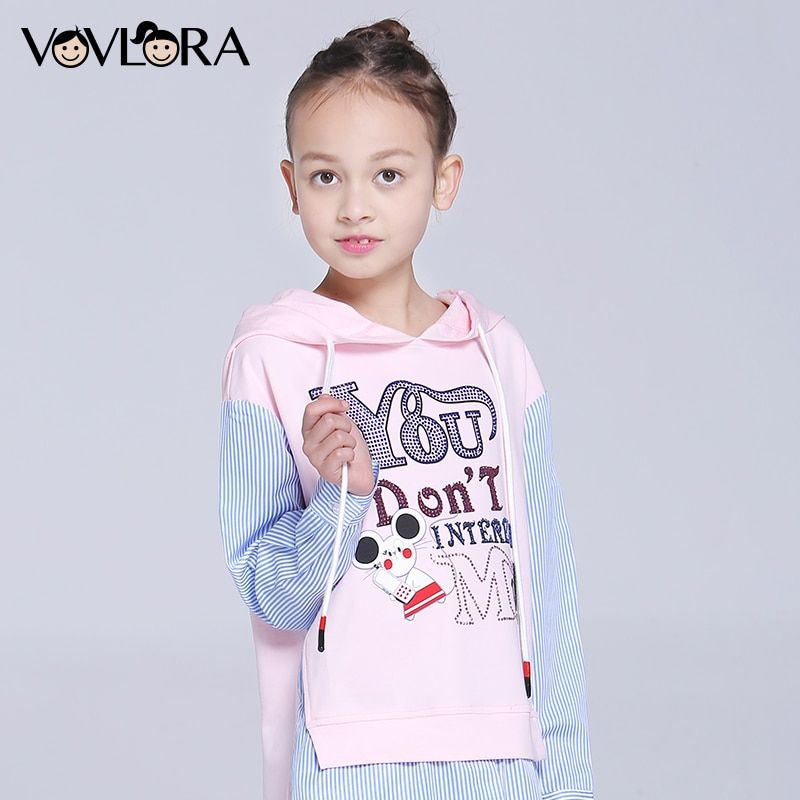 Girls T-shirts Hooded Cartoon Long Sleeve Kids T-shirt Letter Knitted Cotton Children Clothes New Fashion Size 7 8 9 10 11 12 Y