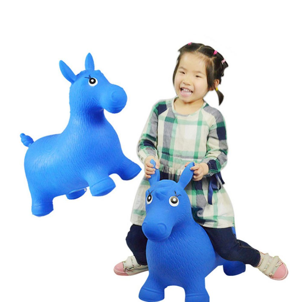 Baby Toys Thickened Inflatable Bouncing Horse Bouncer Seat Non-painted Extra-large Rubber Horse Best for 1-8 Years Kids Playing