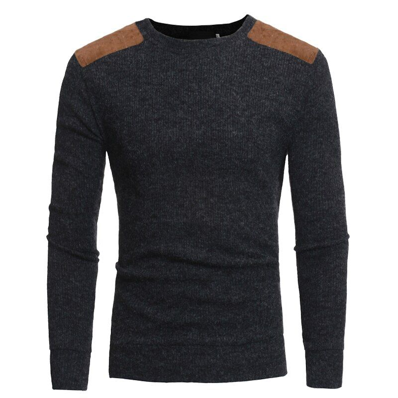 Sweater Pullover Men 2018 Male Brand Casual Slim Sweaters Men Suede Patch Design Hedging O-Neck Men'S Sweater
