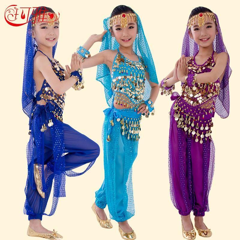 Nouveau À La Main Enfants Costumes De Danse Du Ventre Danse Du Ventre des Enfants Filles Bollywood Indien Performance Tissu Ensemble 6 Couleurs