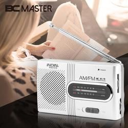 BCMaster New Arrival INDIN Silver Mini Portable AM/FM Telescopic Antenna Radio Mini Slim Dual Band Stereo Channel BC-R28 Radios