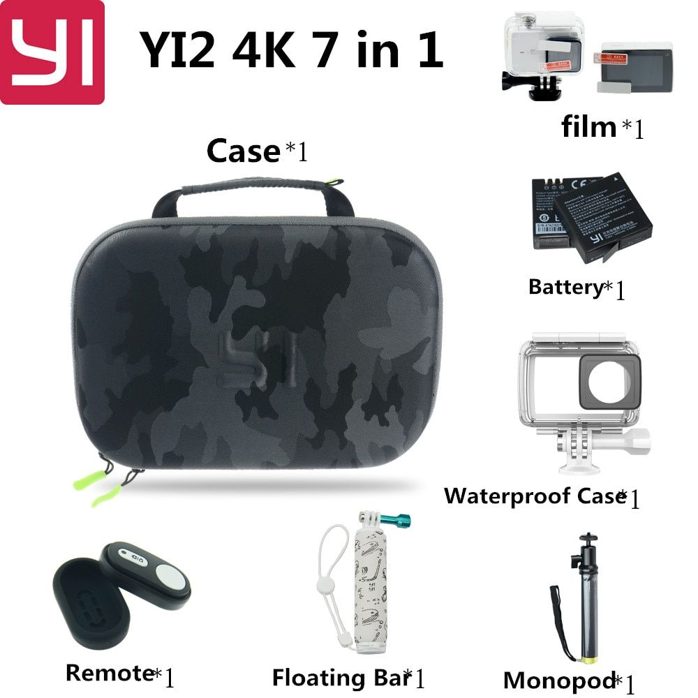 7 in 1 Xiaomi Yi 2 4k Action Camera Accessories Set with Waterproof Case Bluetooth Selfie Monopod Camera Bluetooth Remote For Yi