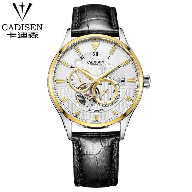 CADISEN Top Herren Uhr Mode Luxus Einfache Business Saphir Kristall Zifferblatt Fenster 50 mt Wasserdichte Uhr Männer leder Armbanduhr
