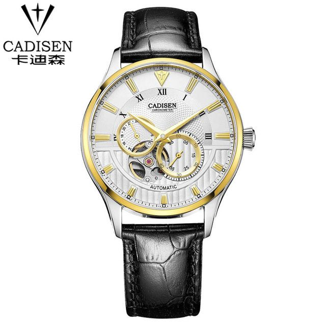 CADISEN Top Mens Watch Fashion Luxury Simple Business Sapphire Crystal Dial Window 50m Waterproof Clock Men leather Wrist Watch