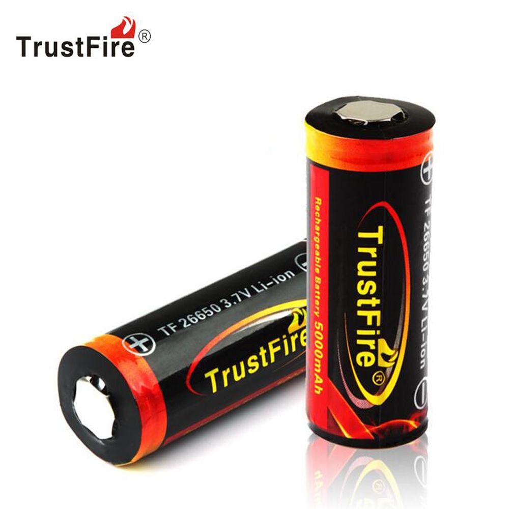 Véritable Original trust 26650 protégé 5000mAh 3.7V Li-ion batterie Rechargeable 2 PCS/LOT