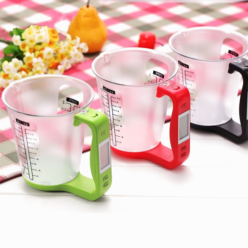 Hostweigh Digital Cup Kitchen <font><b>Scales</b></font> Electronic Measuring Tool Household Jug <font><b>Scale</b></font> with LCD Display Temp Measurement Cups Libra
