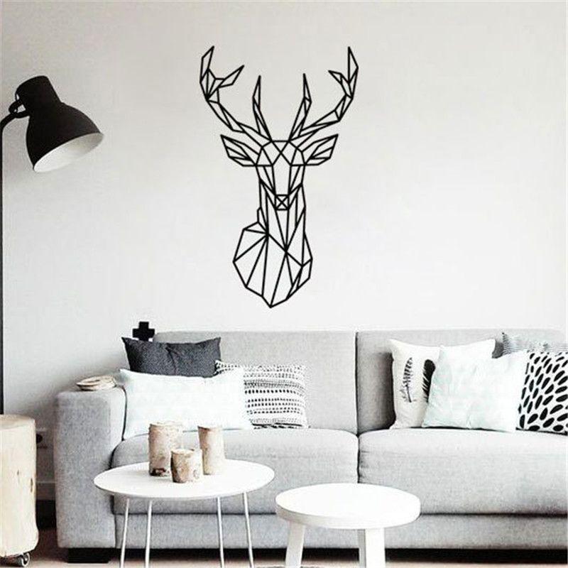 Tête de cerf géométrique bricolage Sticker mural amovible minimalisme nordique Animal papier peint salons affiche peintures murales décor à la maison