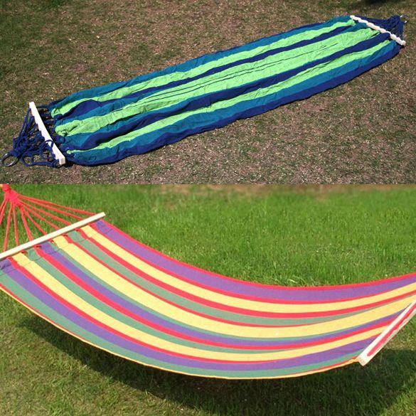 Tela de lona Solo Jardín Spreader Bar Hamaca Hamacas Al Aire Libre Oscilación Que Acampa Cama Colgante Hangmat Oscilación Del Jardín 200x80 cm