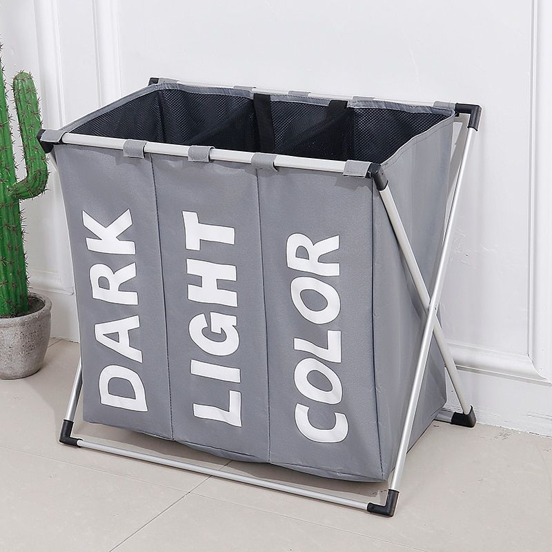 SHUSHI Collapsible Dirty clothes laundry basket Three grid bathroom laundry hamper Organizer home office metal storage basket