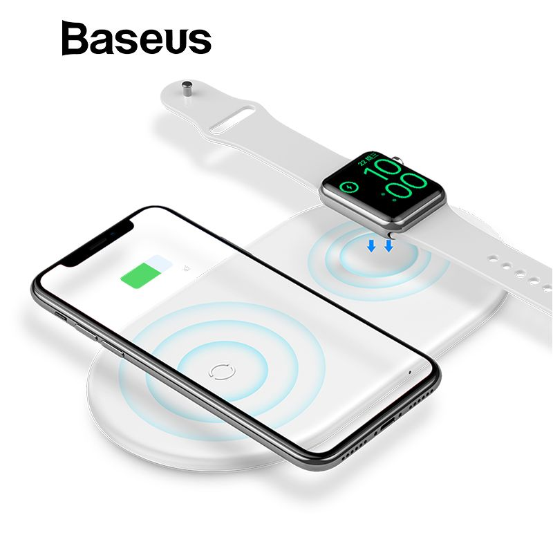 Baseus 2 in 1 Wireless Charger For iPhone X XS Max XR Apple Watch 3 2 Charger For Samsung S8 S9 10W Fast Wireless Charging Pad