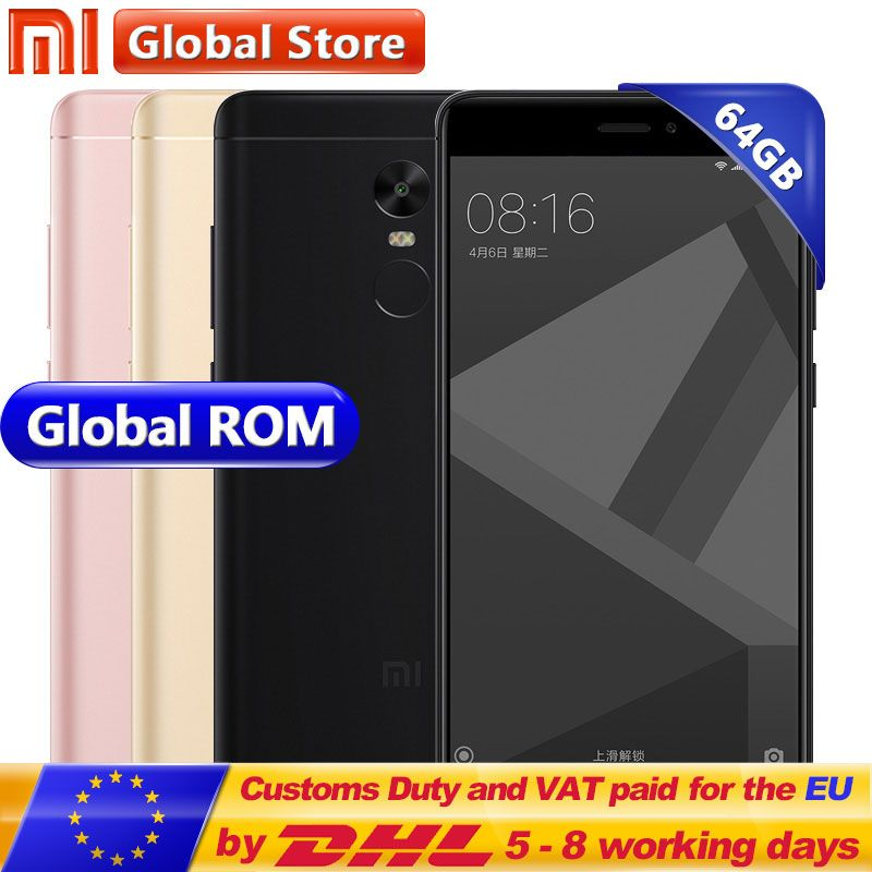 Xiaomi Redmi Note 4X 4 X 4GB 64GB Mobile Phone Redmi Note4X MTK Helio X20 Deca Core 4100mAh 13.0MP 5.5