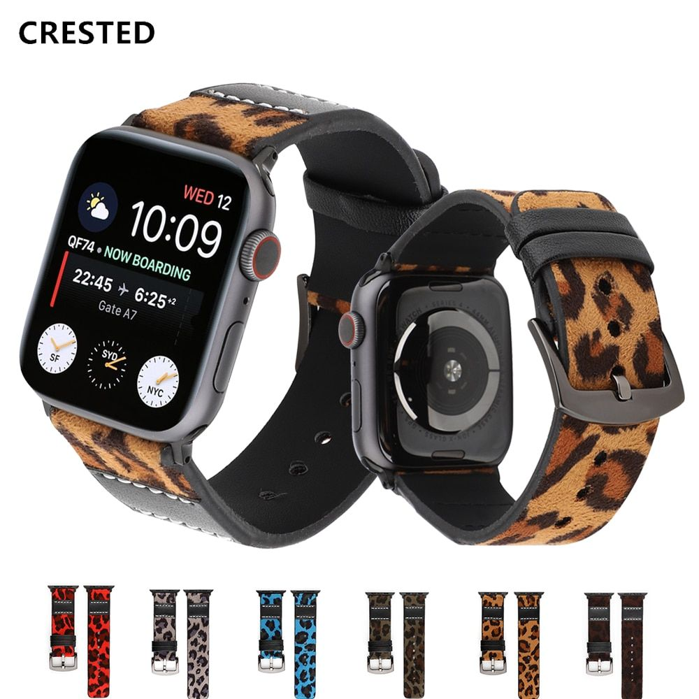 CRESTED Genuine Leather strap for apple watch band 44 mm 38mm apple watch 4 3 iwatch band 42mm 40mm correa watchband bracelet 42