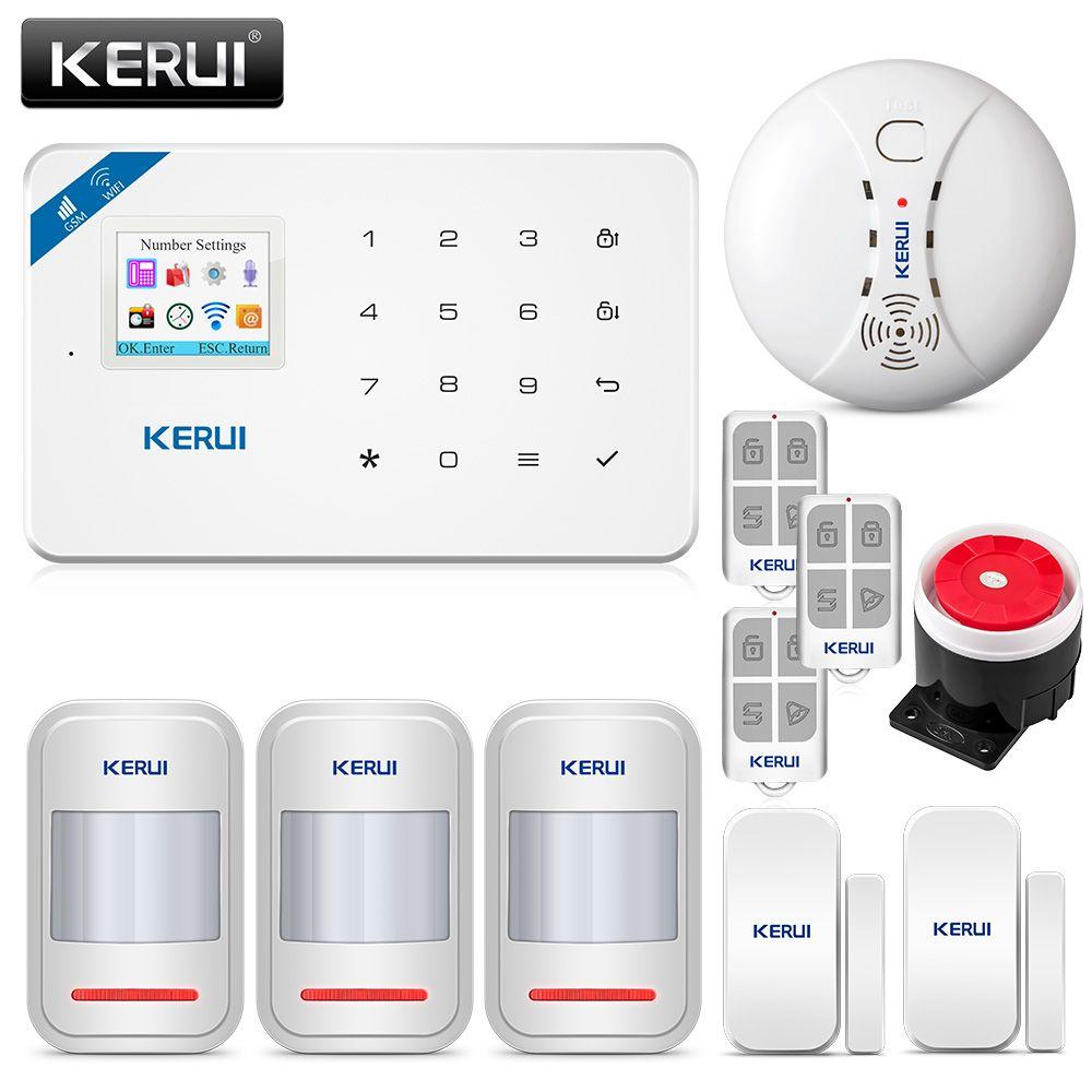Détecteur de mouvement KERUI W18 1,7 pouce écran TFT WIFI GSM système d'alarme anti-intrusion pour la maison détecteur de fumée APP détecteur d'incendie