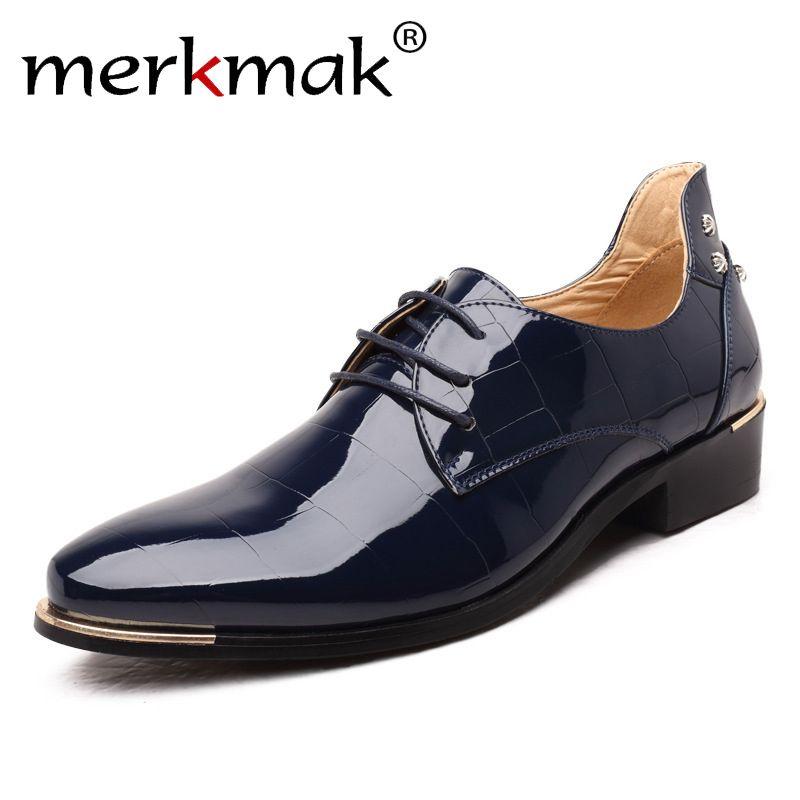 Merkmak Men Oxford Shoes 2018 New Fashion PU Leather Lace-Up Business Men Shoes High Quality Men Dress Shoes Men Flats