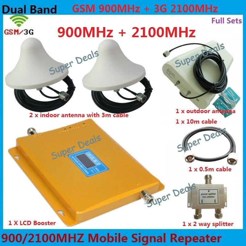 For 2 Rooms 2G 3G LCD Signal booster! GSM 900 GSM 2100 Mobile Siganl Repeater Amplifier 3G GSM Repeater Cellular Phone Amplifier