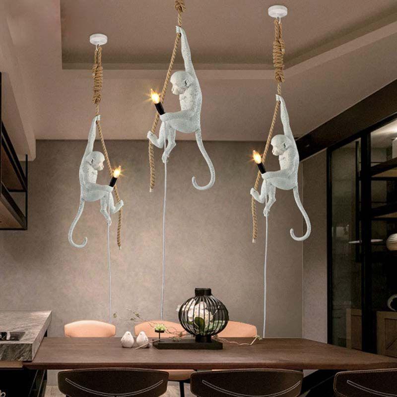 LukLoy Modern Pendant Light Simple and Creative Personality Hemp Rope Resin Lamp Corridor Study Cafe Monkey Pendant Light