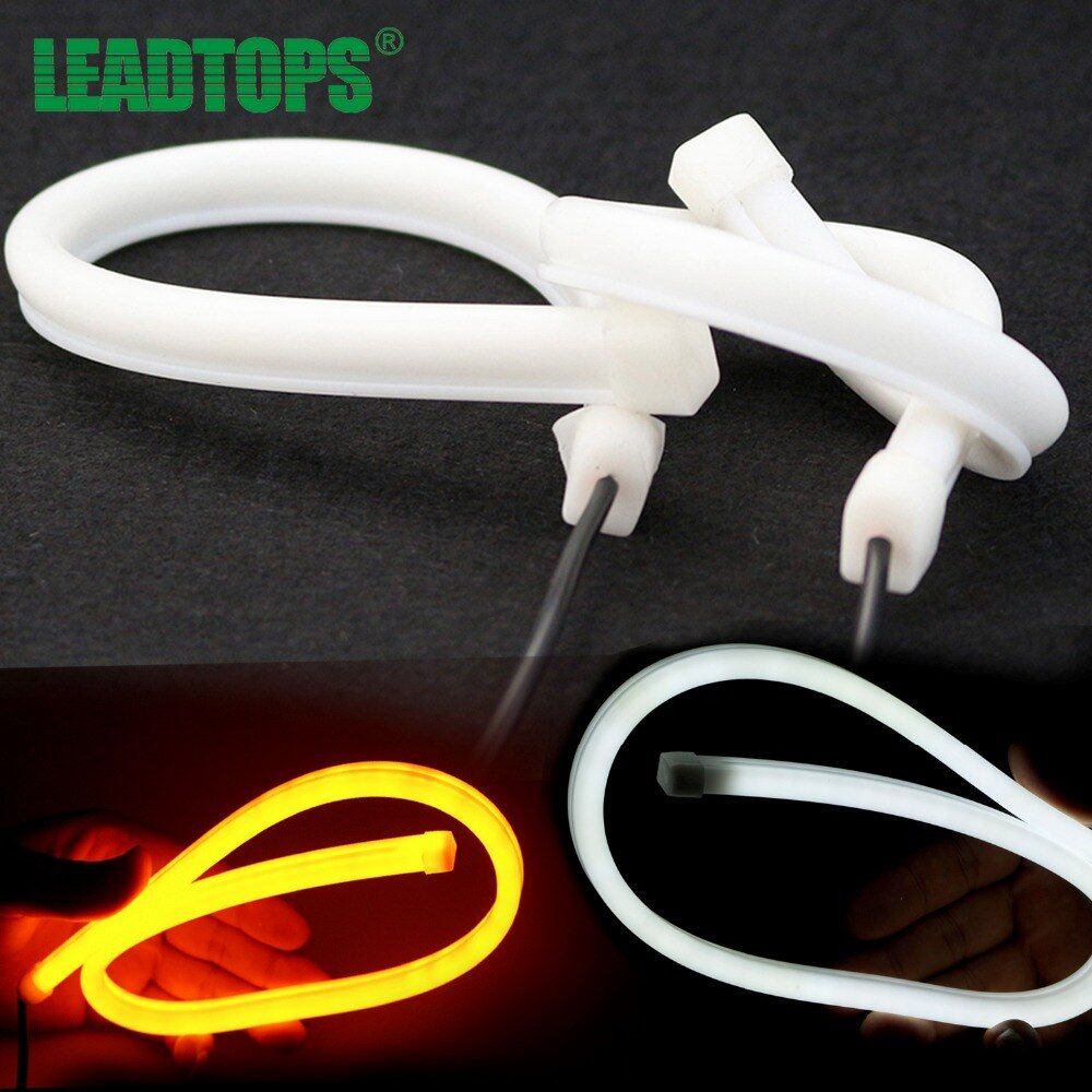 2X45CM AUTO External light Universal Drl Flexible Color Car Led Lamp With Cold Daytime Running Light With Turning Accessorie BC