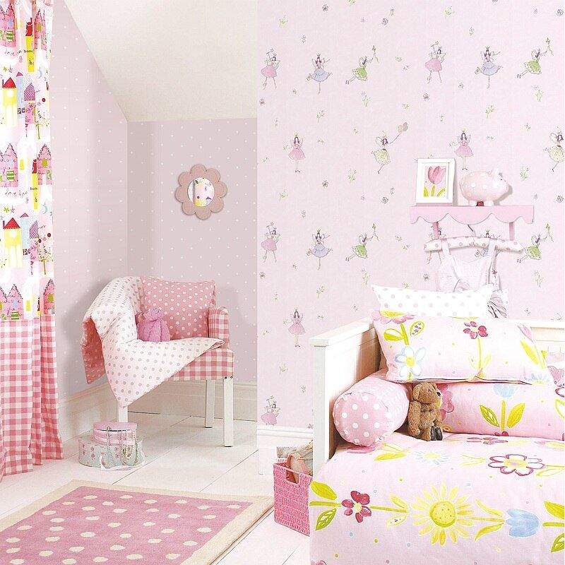 Dancing Girls Cartoon Wall Papers Home Decor Kids Girl Bedroom Wallpaper Roll Pink Purple Papel Mural papel de parede infantil