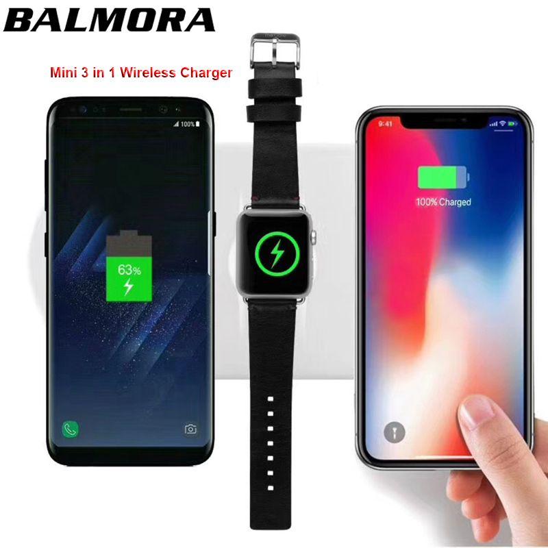 BALMORA Für iWatch 2 3 Airpower QI WIRELESS-LADEGERÄT Für iPhone X 8 8 plus Schnelle Lade Pad Für GalaxyS8 S8plus S6 S7edge USB