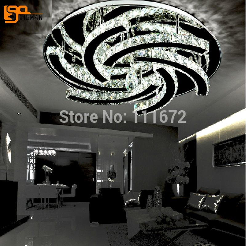 new round LED crystal chandelier ceiling crystal lighting living room lamp flush LED light
