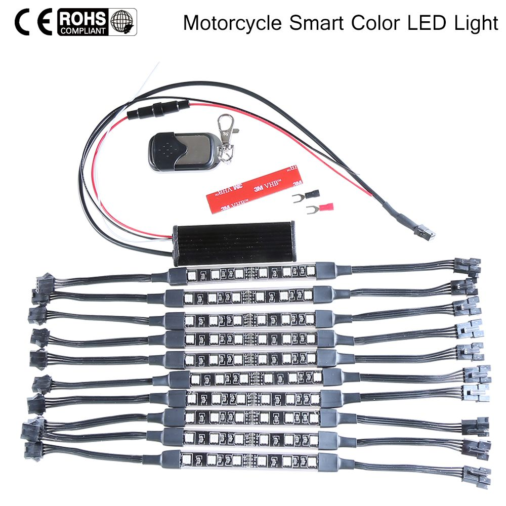 10PCS RGB Wireless Remote Control Atmosphere Lamp 60-LED Car Motorcycle Light with Smart Brake Light 5050SMD Modification Kit