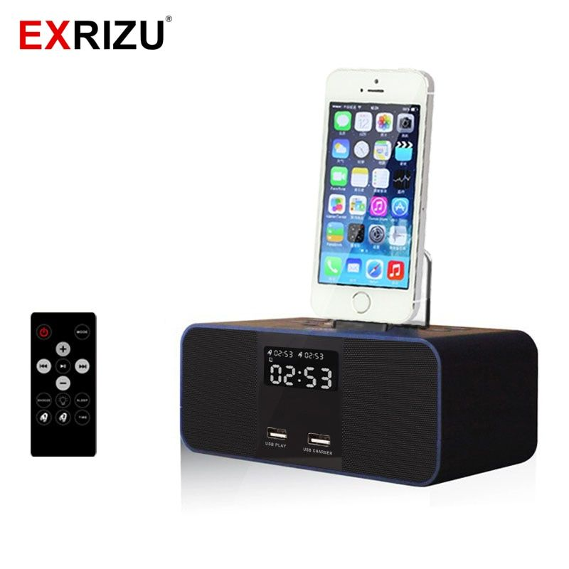S6 Wireless Bluetooth Speaker NFC Radio Alarm Clock Portable Audio Music 8 pin Charger Dock Station for iPhone 8 7 5S 6 6S Plus