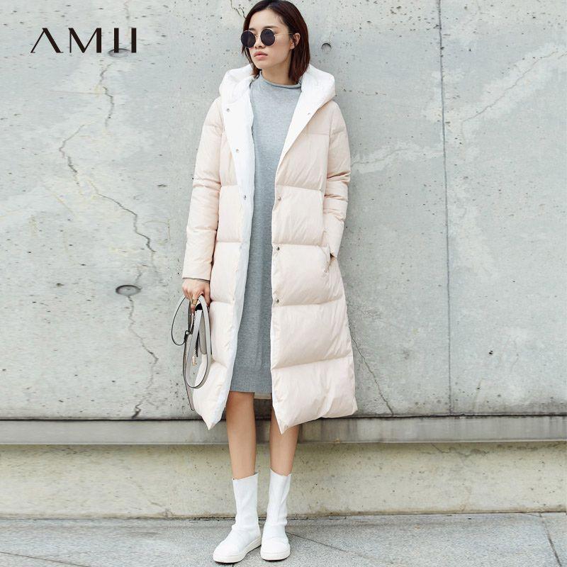Amii Minimalist Hoodie Down Coat Women Winter 2018 Casual 90% White Duck Light Waterproof Female Plus size Long Down Jackets