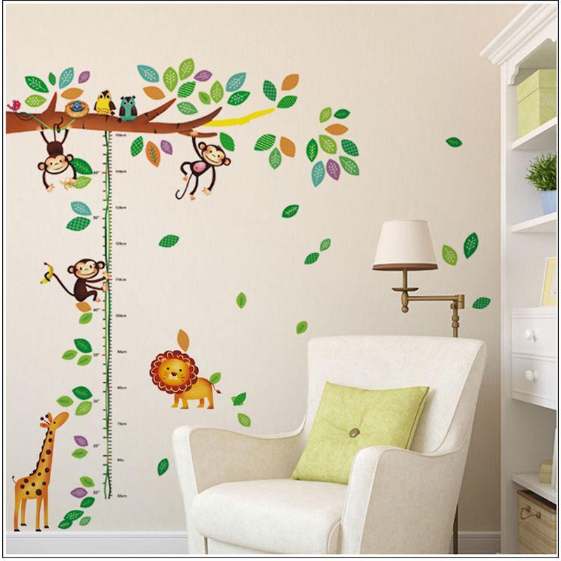 Dessin animé girafe singe arbres hauteur mur autocollant bébé chambre enfants chambre Stickers muraux décor maison mur Art autocollant