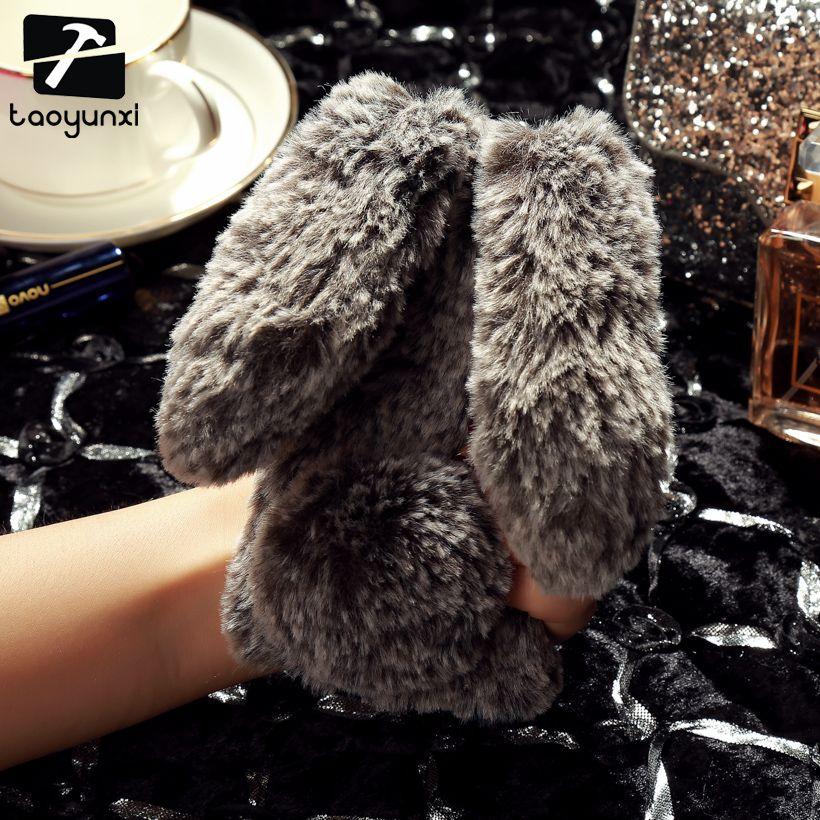 TAOYUNXI Rabbit Fur Soft Silicon Phone Case Cover For Apple iPhone 5 5S 5G SE/6 6S 6G/6 PLUS/6S PLUS/7 7G/7 PLUS Glitter Cover