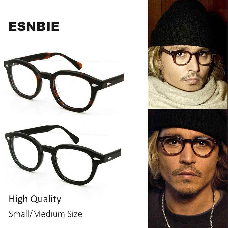 ESNBIE High Quality 2 Size Johnny Depp Style Glasses Men <font><b>Retro</b></font> Vintage Prescription Glasses Women Optical Spectacle Frame Round